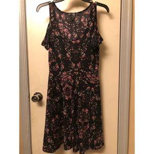 Hot Topic floral cold shoulder skater dress